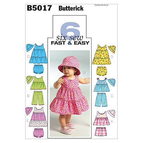 Butterick Sewing Pattern 5017 Infants' Top Dress Shorts Hat & Trousers