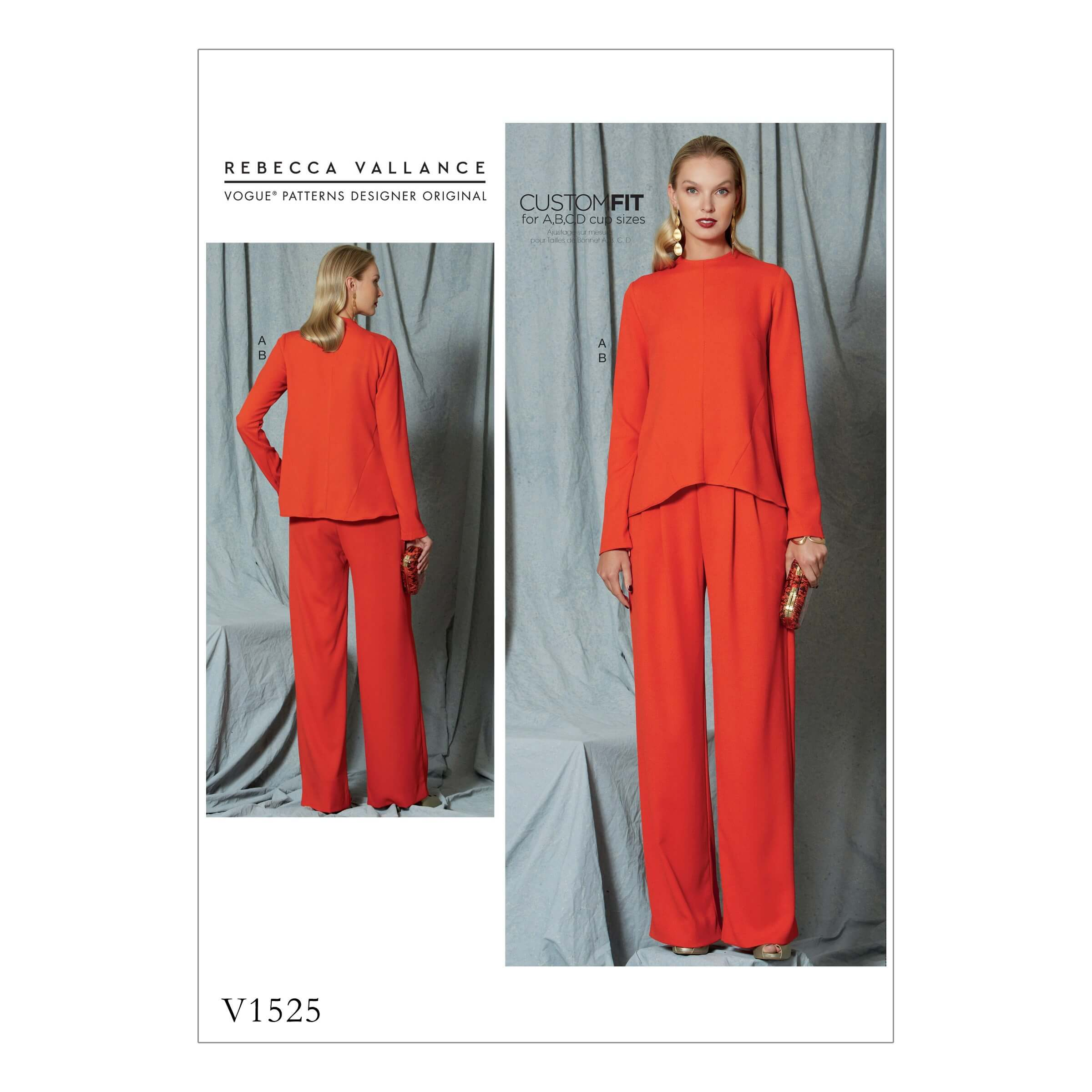 Vogue Sewing Pattern V1525 Women's Diagonal Seam Top and Pleated Trousers