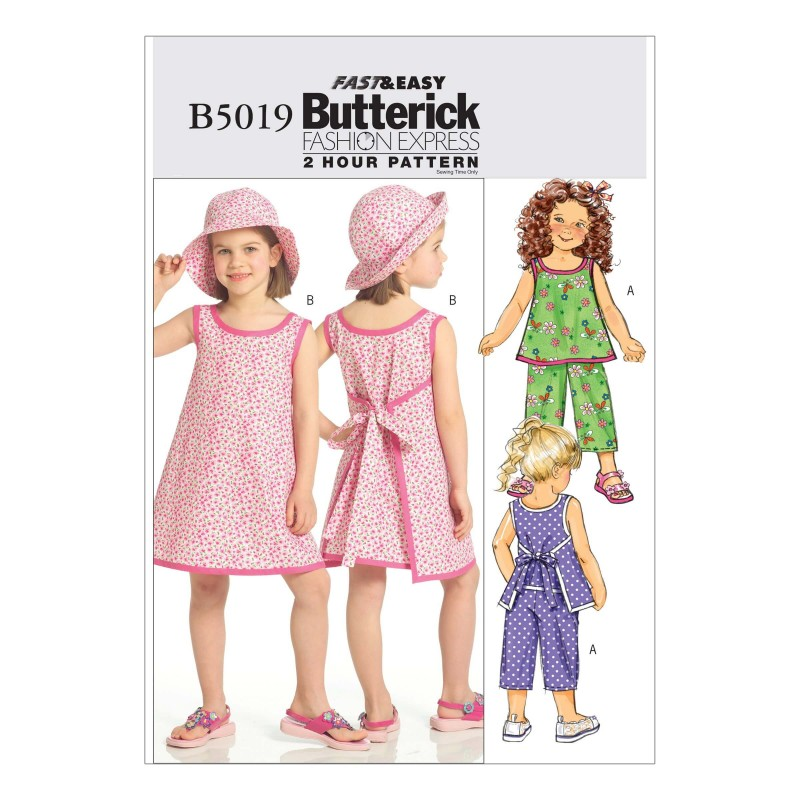 Butterick Sewing Pattern 5019 Girl's Top Dress Trousers & Hat