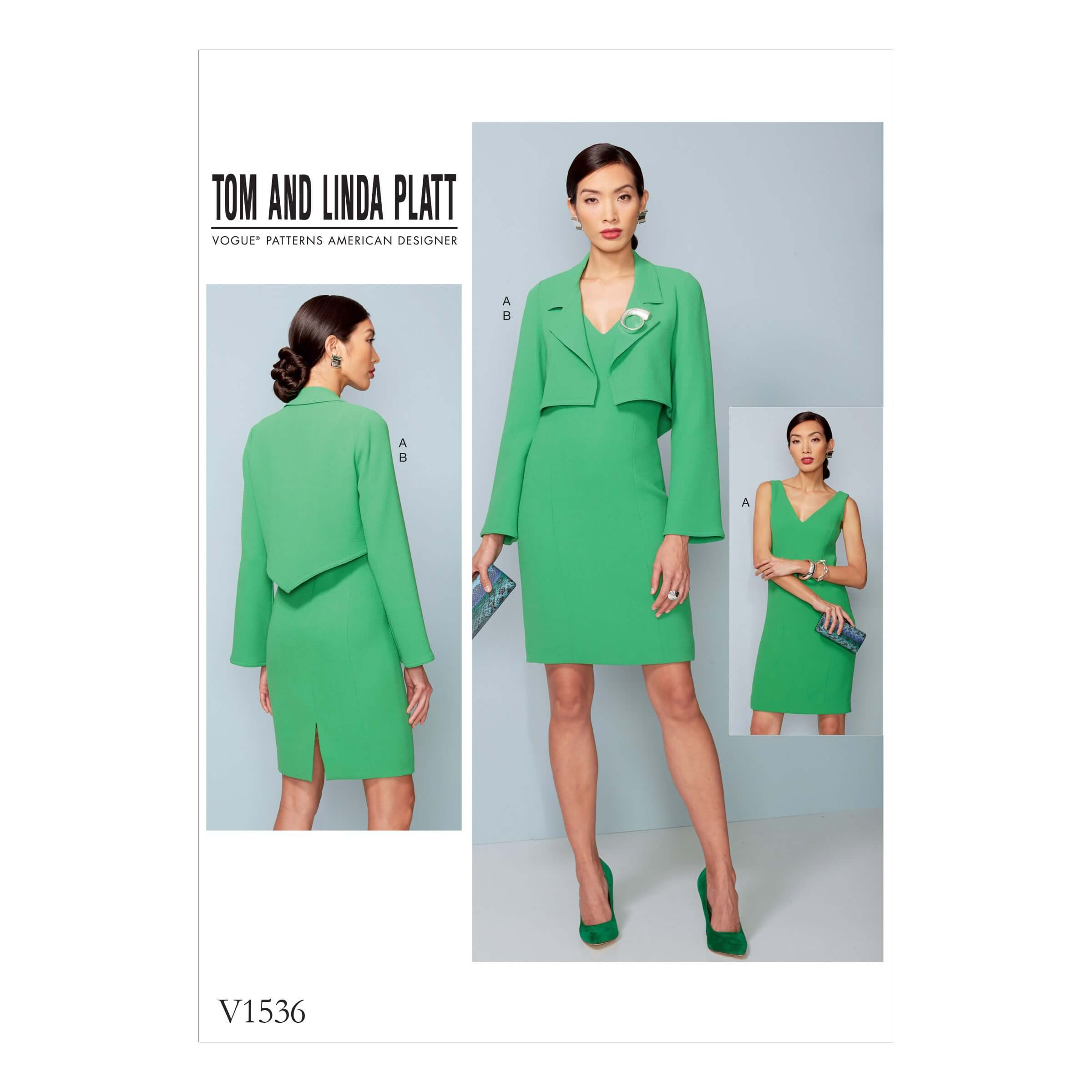 Vogue Sewing Pattern V1536 Women's Cropped Jacket and V Neck Dress