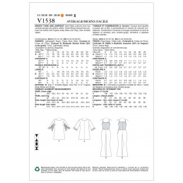 Vogue Sewing Pattern V1538 Women/'s Ruffle Sleeve Tunic and Trousers