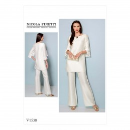 Vogue Sewing Pattern V1538 Women's Ruffle Sleeve Tunic and Trousers
