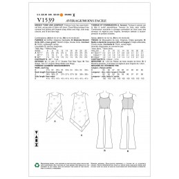 Vogue Sewing Pattern V1539 Women's Flared Leg Jumpsuit and Sleeveless Overlay