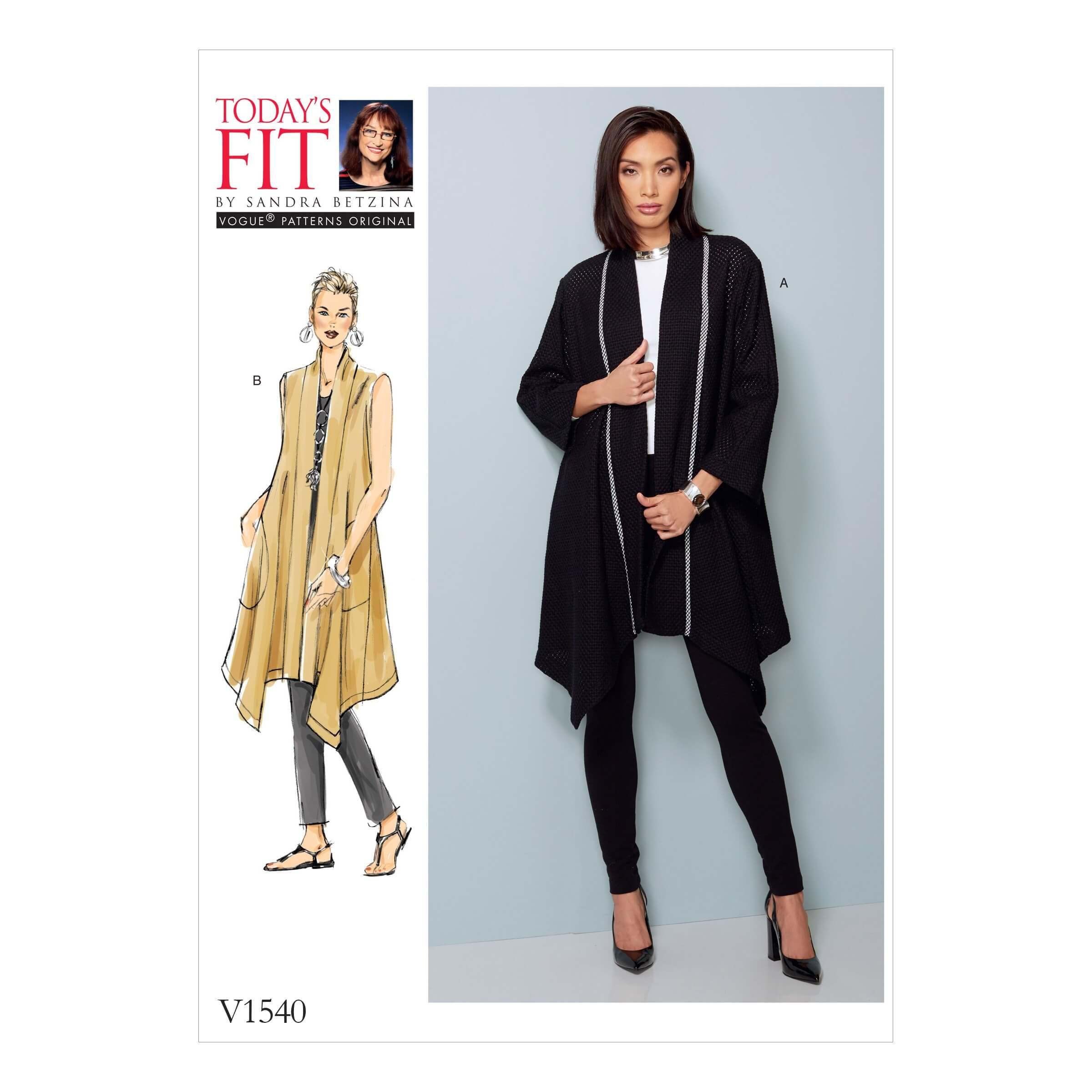 Vogue Sewing Pattern V1540 Women's Loose Fit Shaped Hem Coat and Vest
