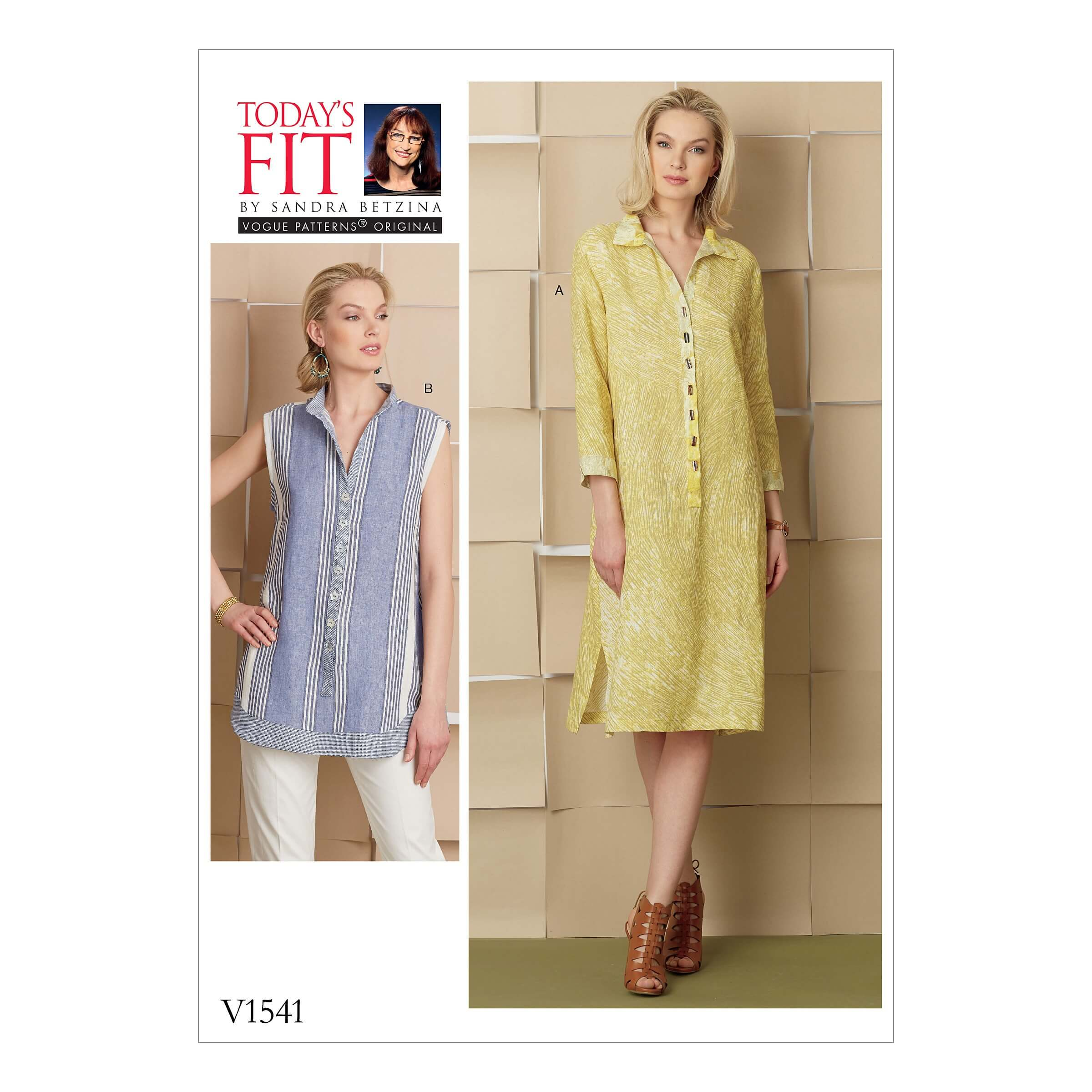 Vogue Sewing Pattern V1541 Women's Loose Fit Shirt Dress and Tunic