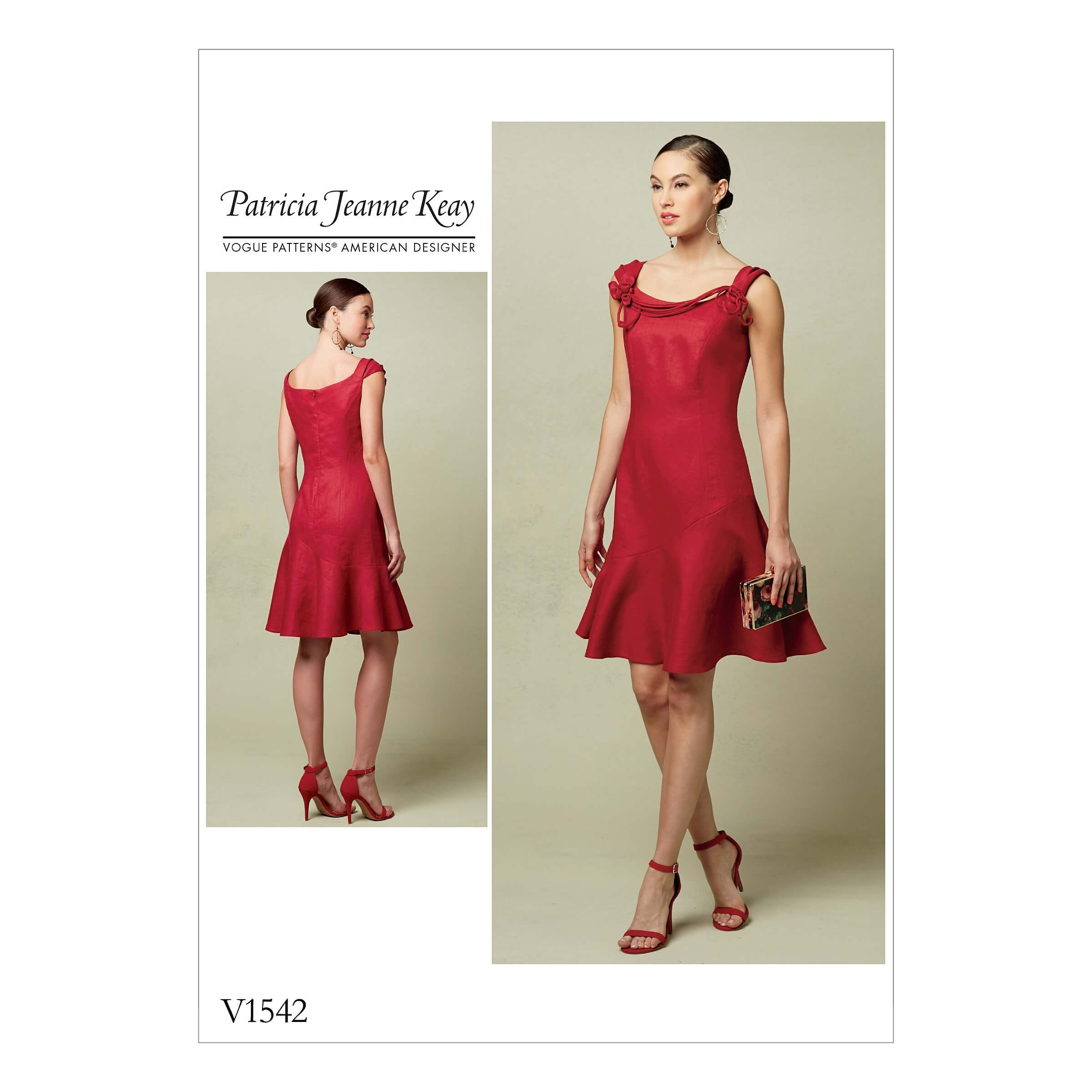 Vogue Sewing Pattern V1542 Women's Flounced Dress with Shoulder Detail
