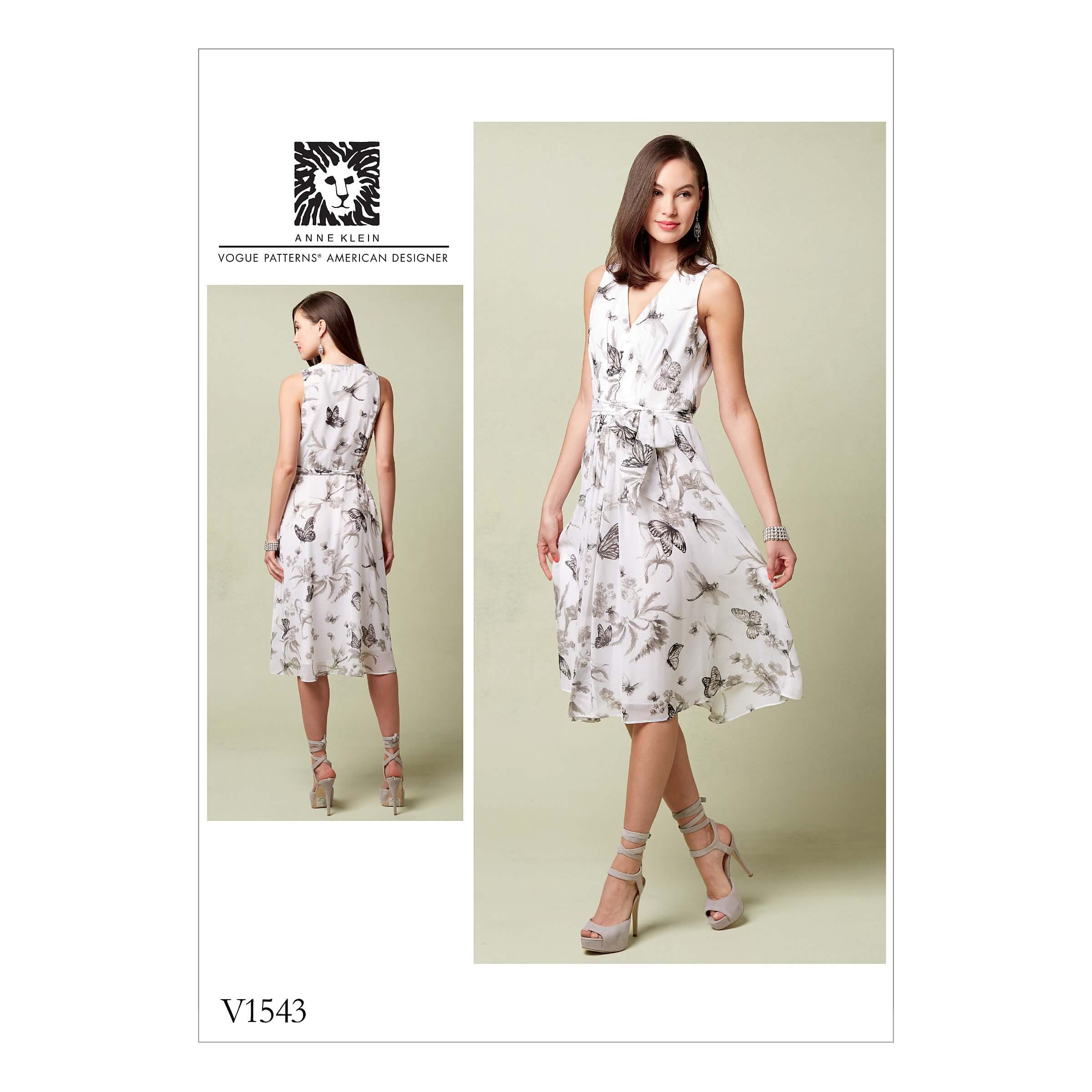 Vogue Sewing Pattern V1543 Women's V Neck Dress with Front Pleat Detail