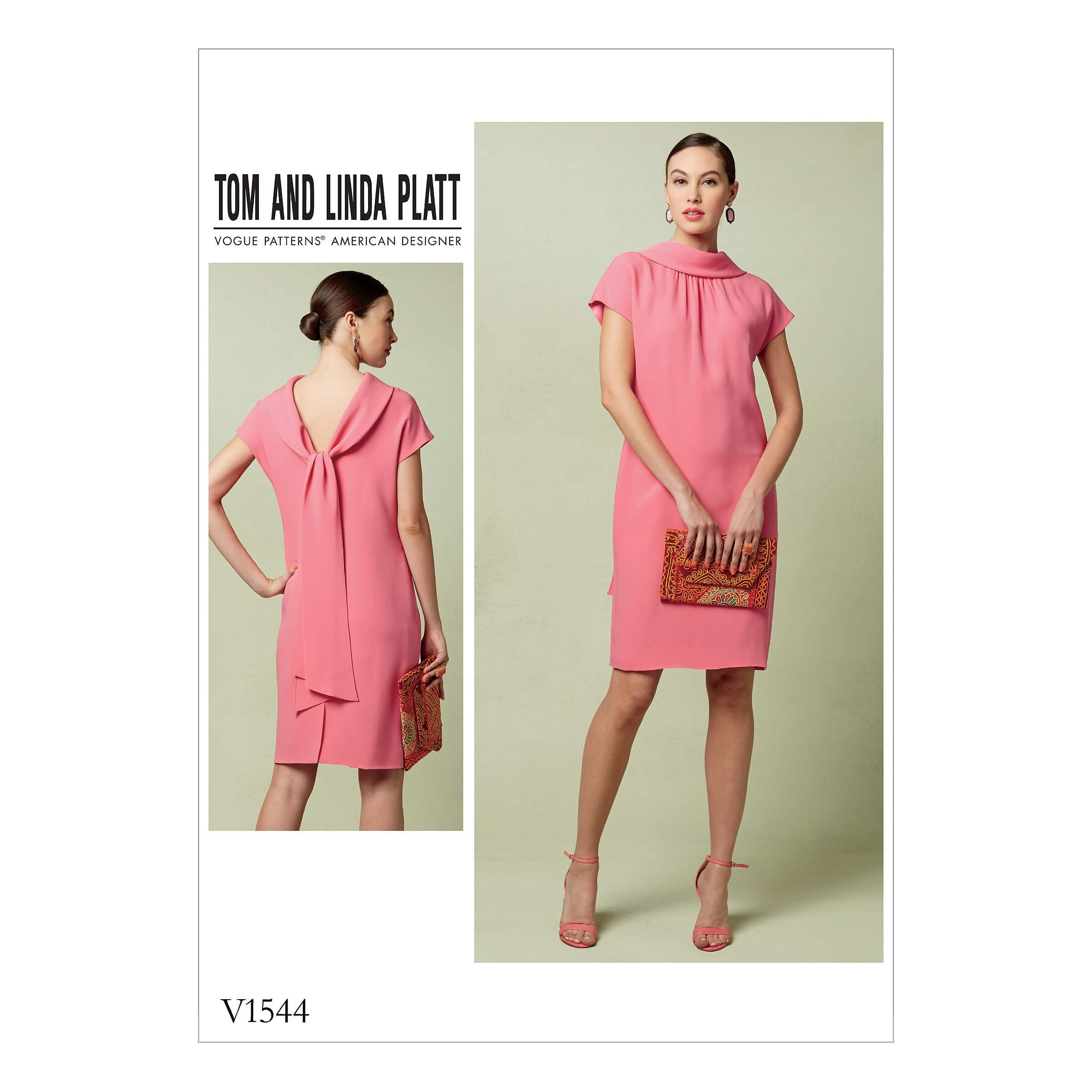 Vogue Sewing Pattern V1544 Women's Shift Dress with Back Drop Tie Collar