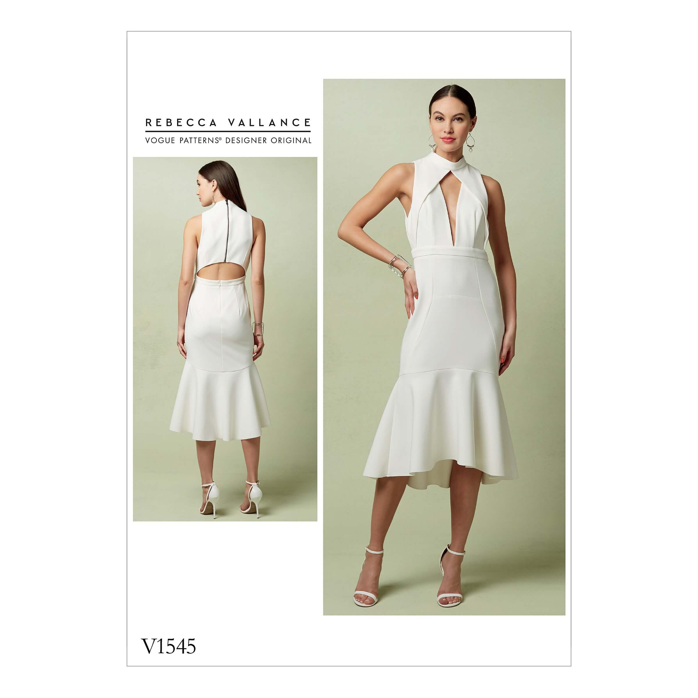 Vogue Sewing Pattern V1545 Women's Flounced Dress with Pleated V Front