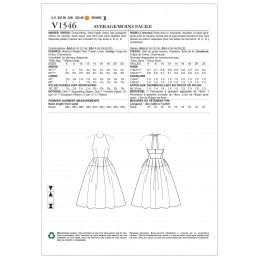 Vogue Sewing Pattern V1546 Women's Dress with Halterneck Tie and Pleats