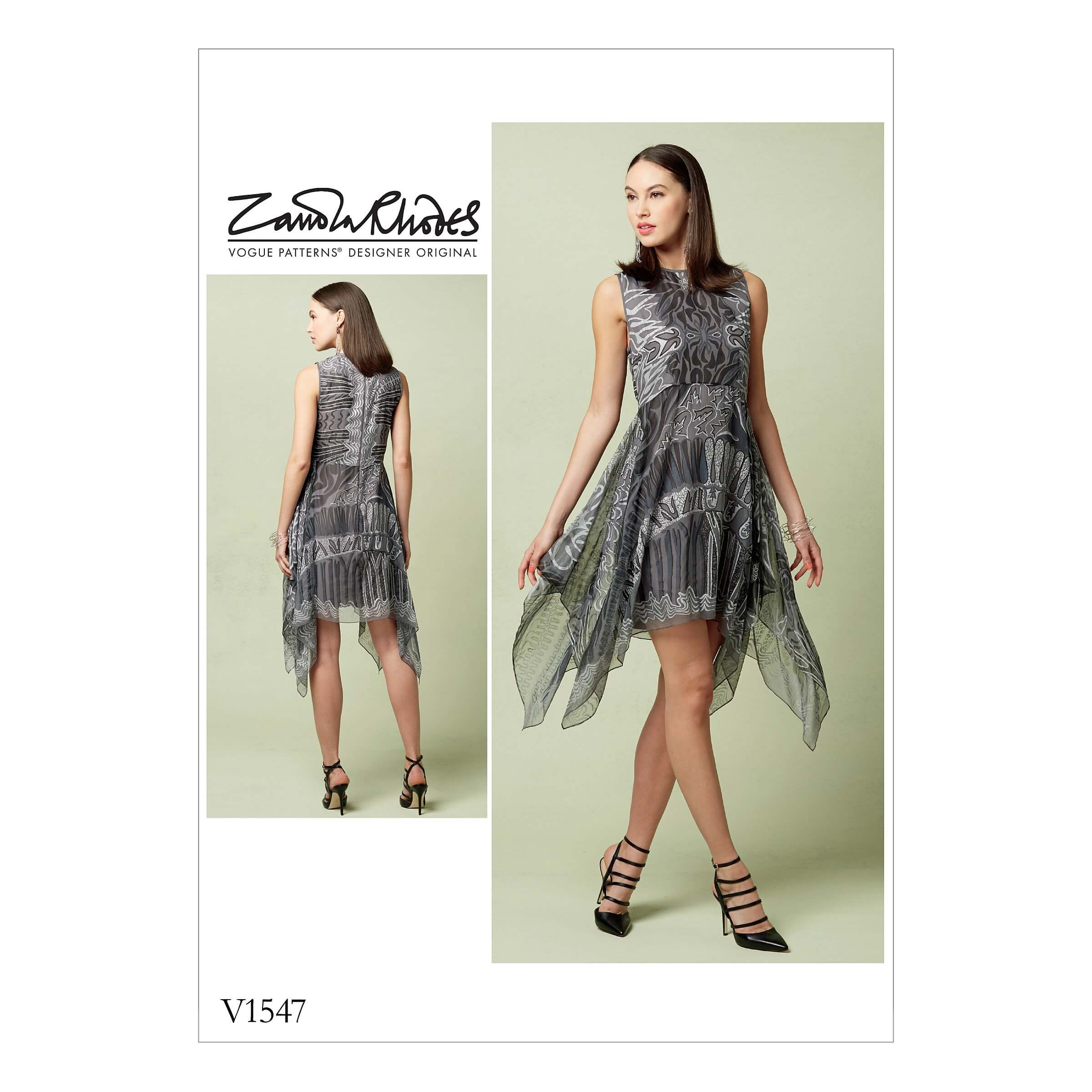 Vogue Sewing Pattern V1547 Women's Dress with Handkerchief Style Overlay