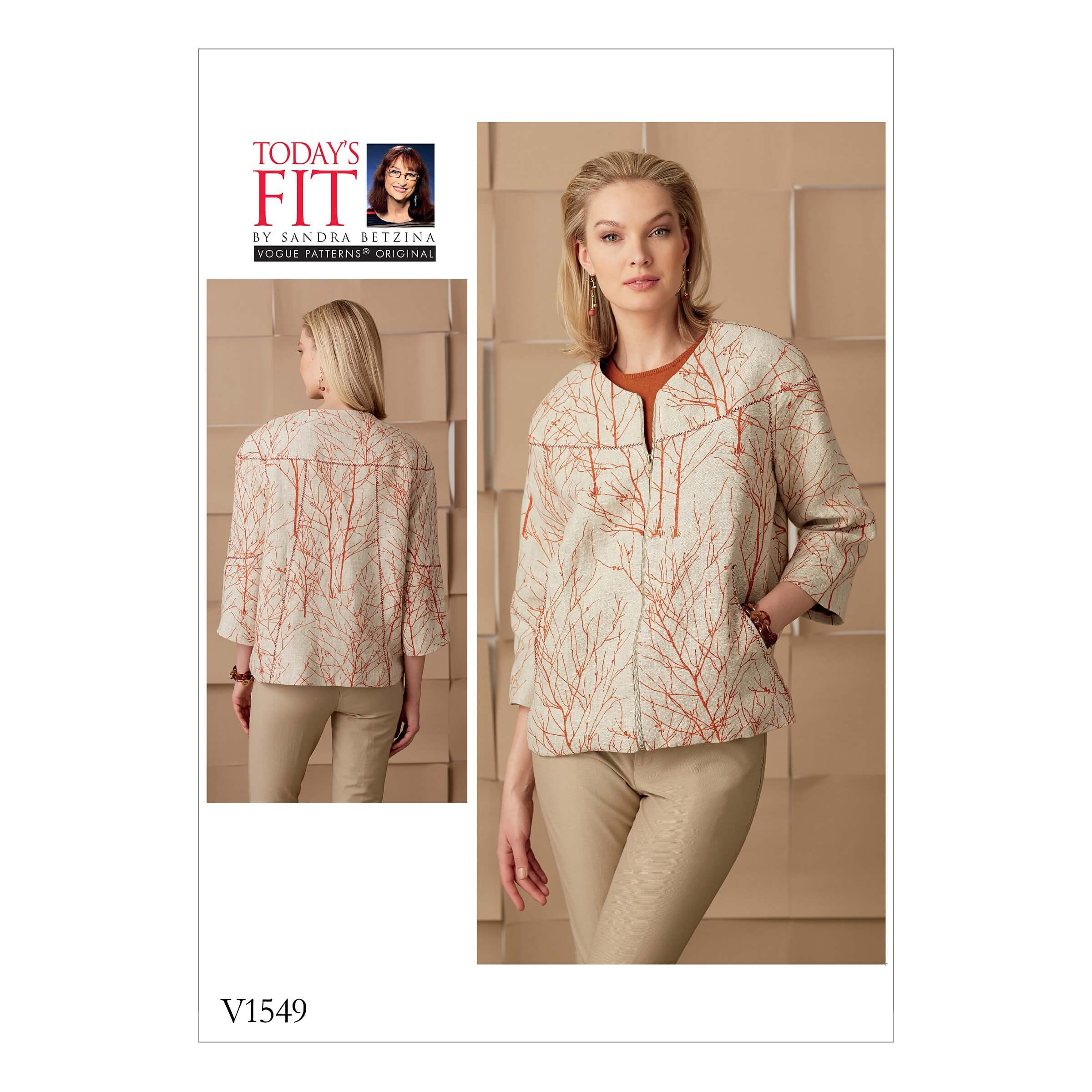 Vogue Sewing Pattern V1549 Women's Zip Jacket with Seam Details