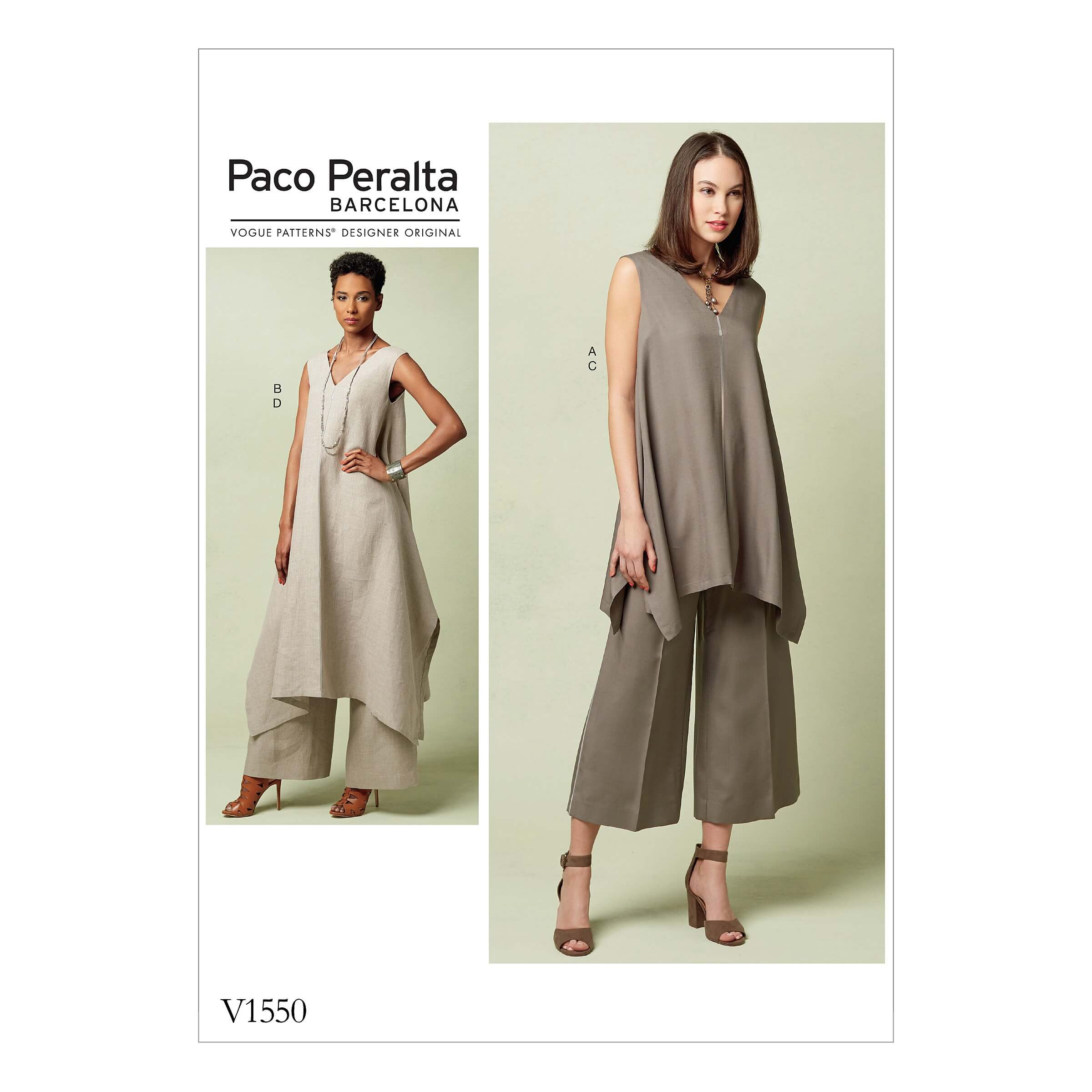 Vogue Sewing Pattern V1550 Women's Uneven Hem Tunic and Wide Leg Trousers