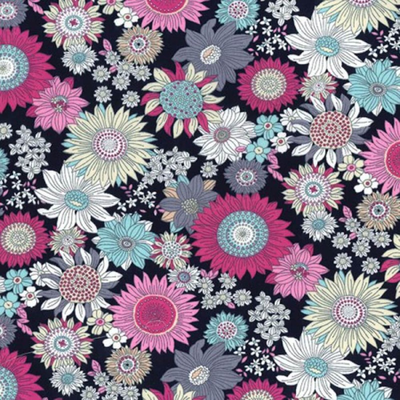 Navy 100% Cotton Poplin Fabric Rose & Hubble Bobby's Sunflowers Floral Flower