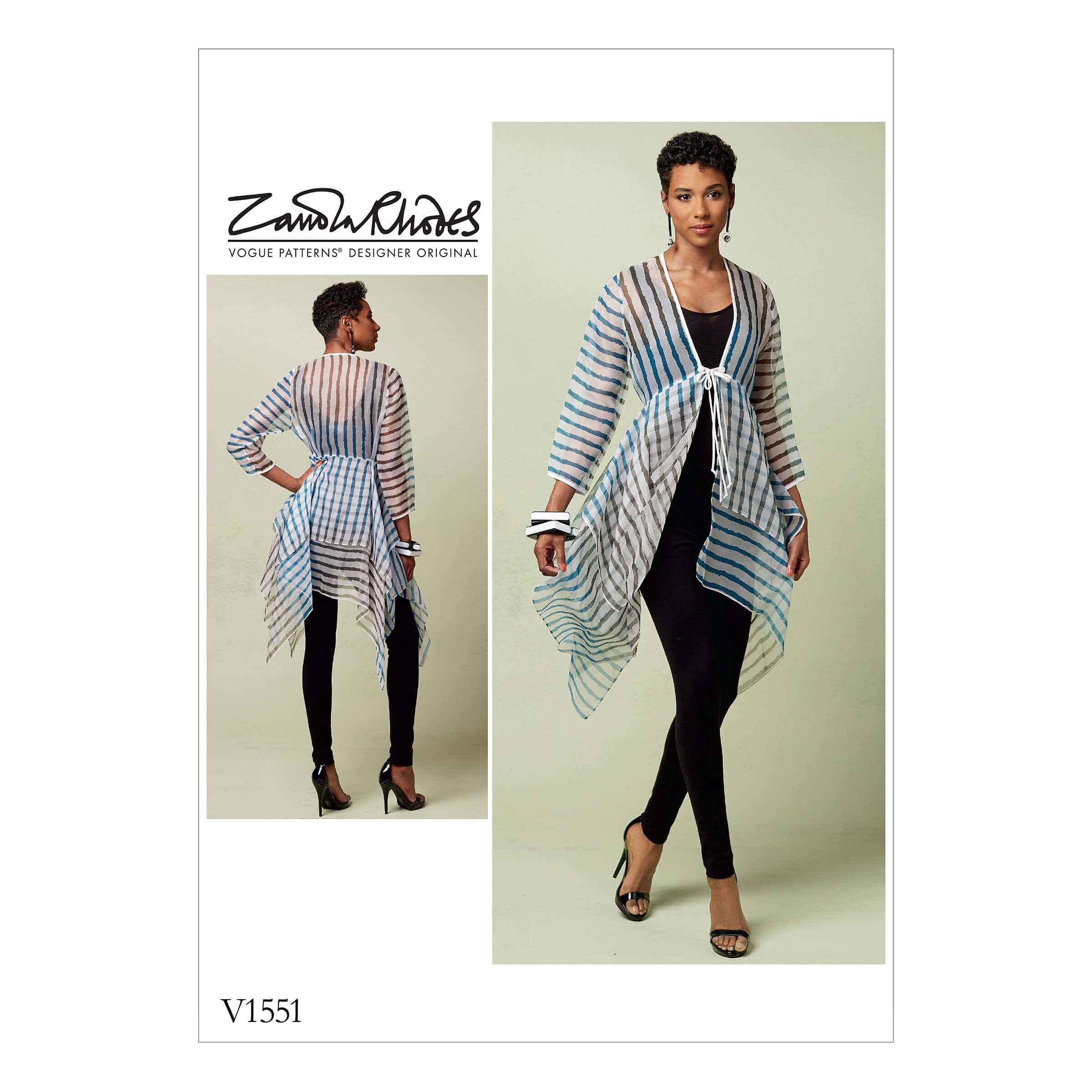 Vogue Sewing Pattern V1551 Women's Tie Front Cover Up with Peplum Detail