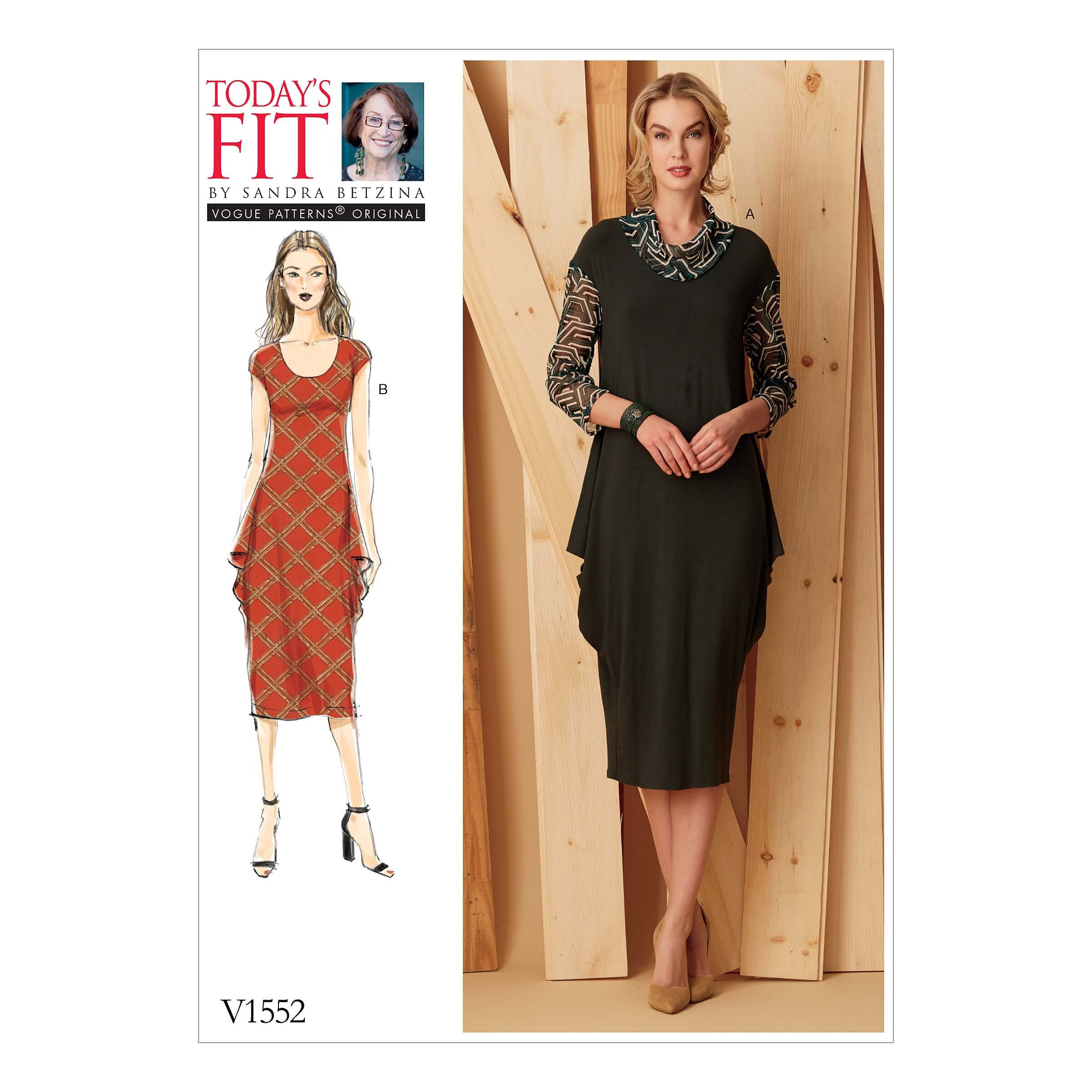 Vogue Sewing Pattern V1552 Women's Knit Dress with Draped Side Detail