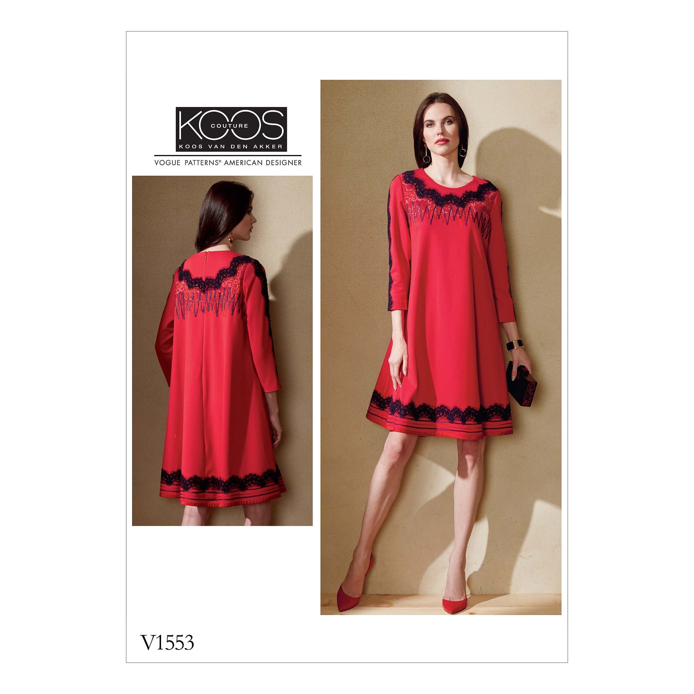 Vogue Sewing Pattern V1553 Women's Swing Dress with Decorative Trims