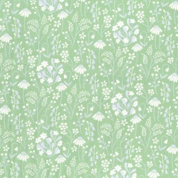 Green 100% Cotton Poplin Fabric Rose & Hubble Bobby's Sunflowers Floral Flower