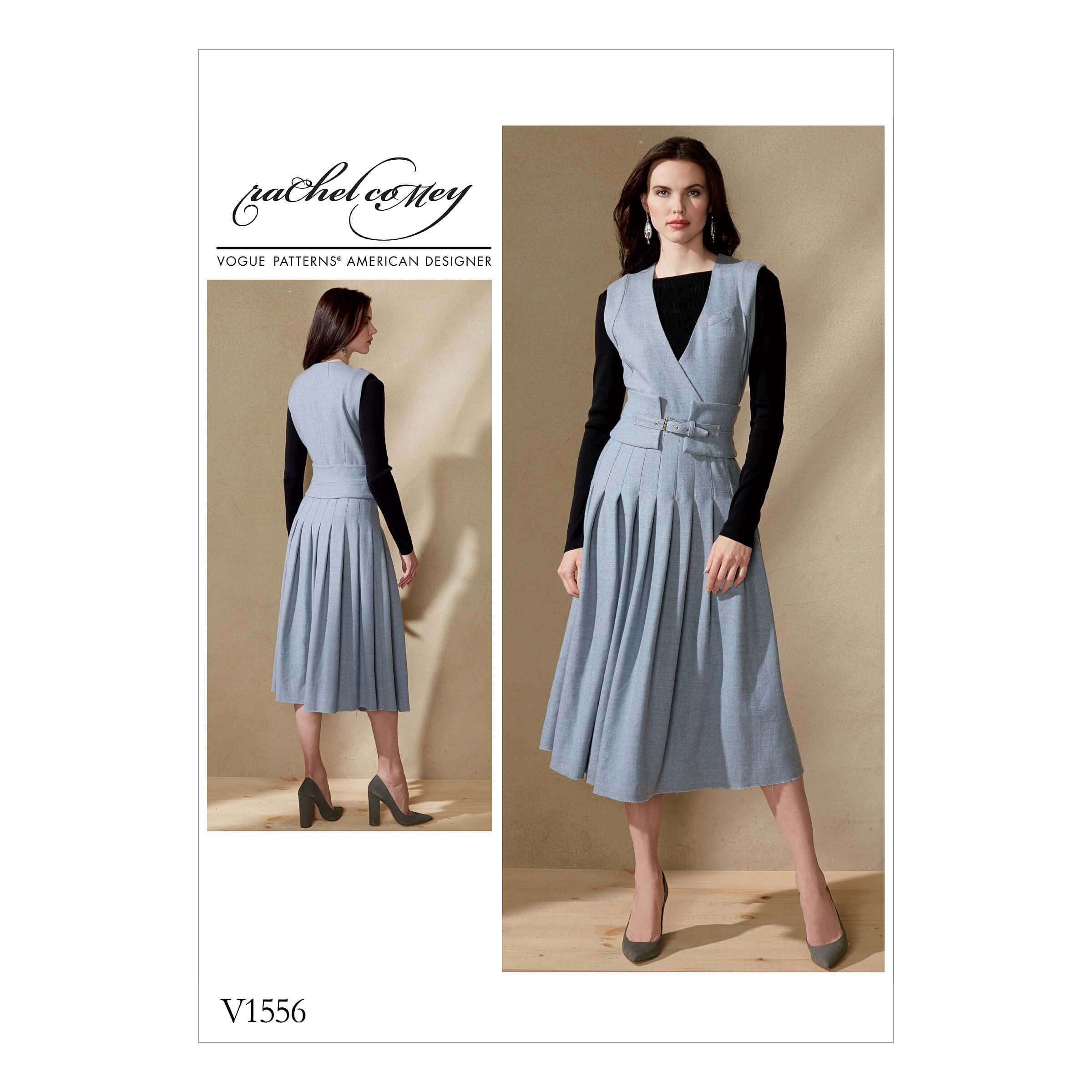 Vogue Sewing Pattern V1556 Women's Pleated Dress with Wide Belt