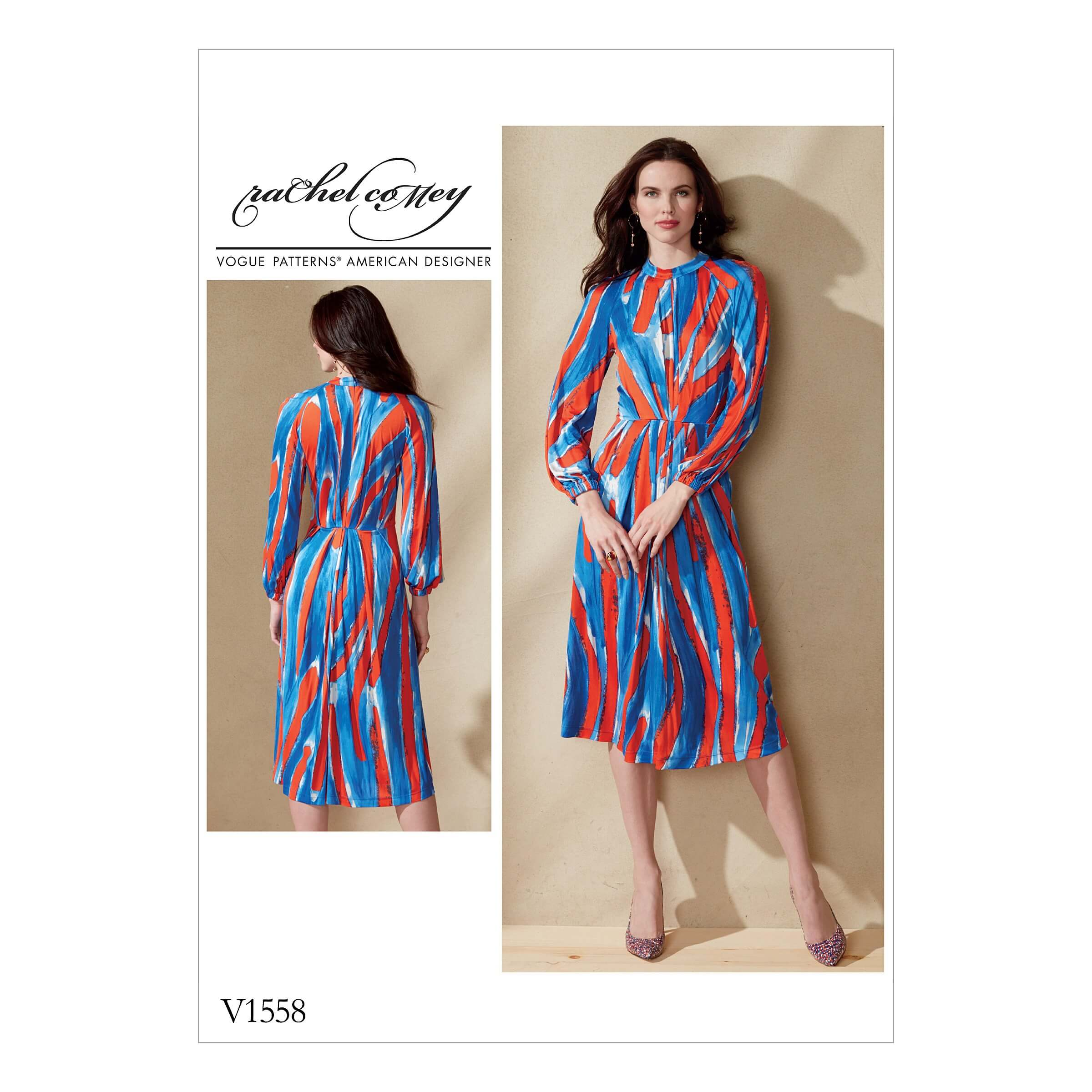 Vogue Sewing Pattern V1558 Women's Dress with Raglan Sleeve and Pleat Waist