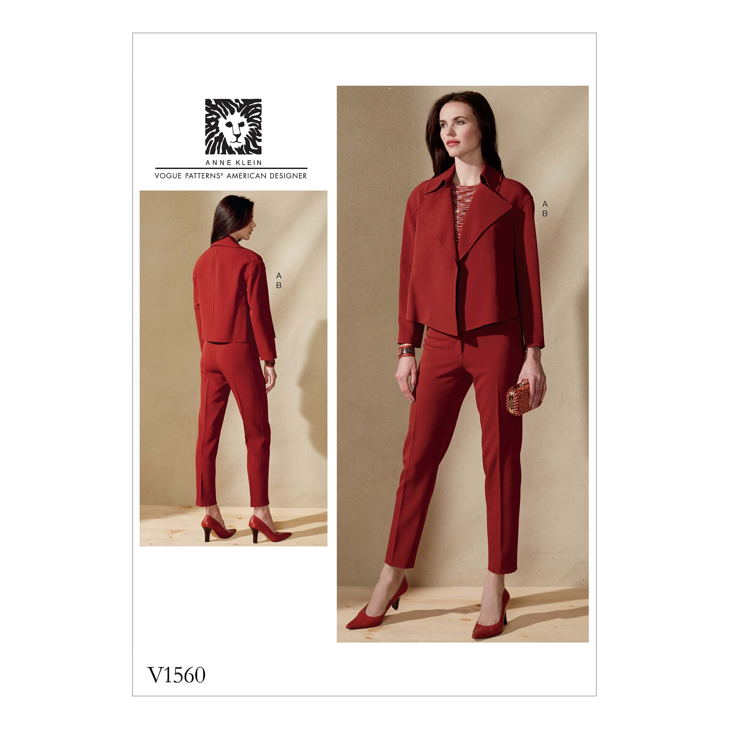 Vogue Sewing Pattern V1560 Women's Open Jacket and Slim Trousers