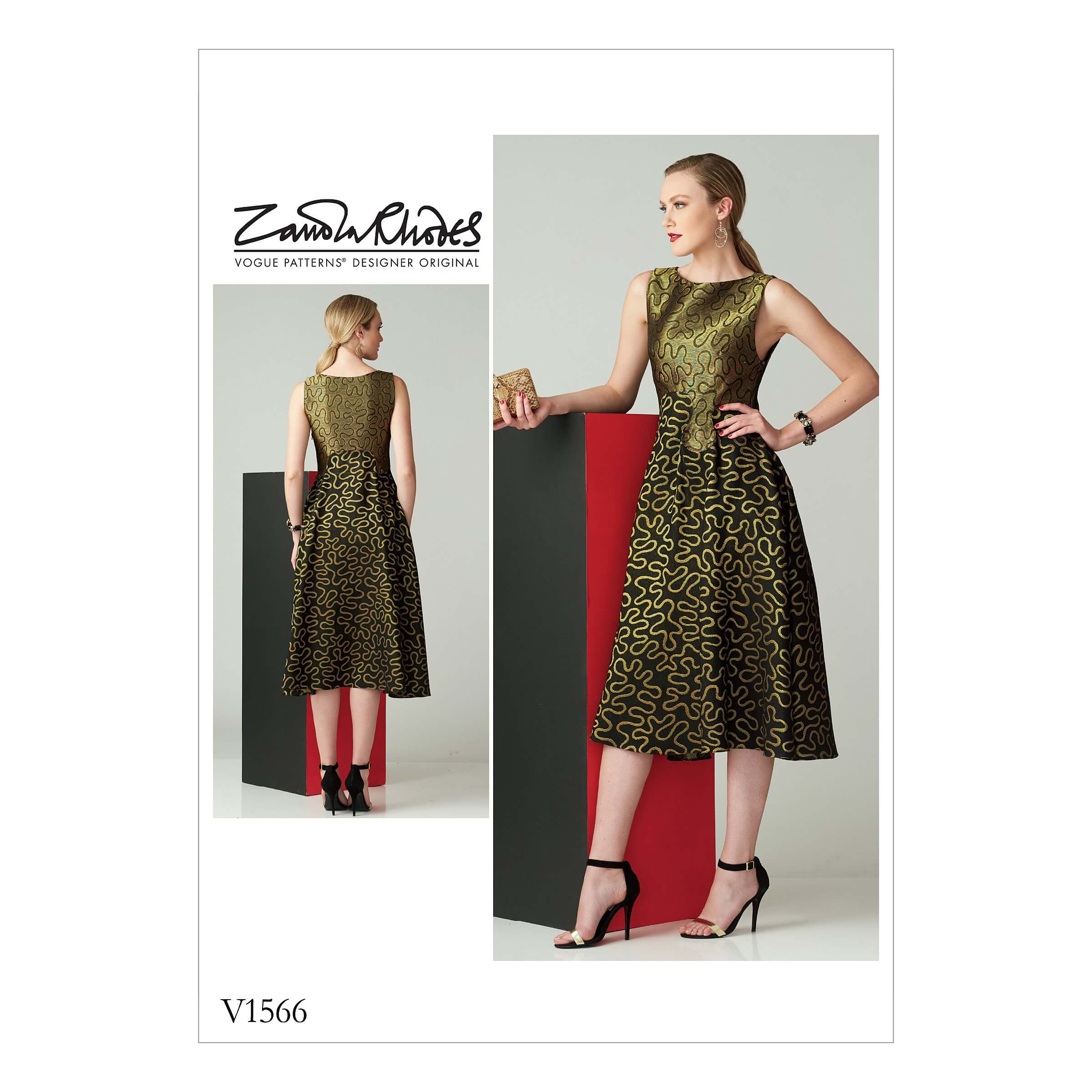 Vogue Sewing Pattern V1566 Women's Sleeveless Dress Fit and Flare