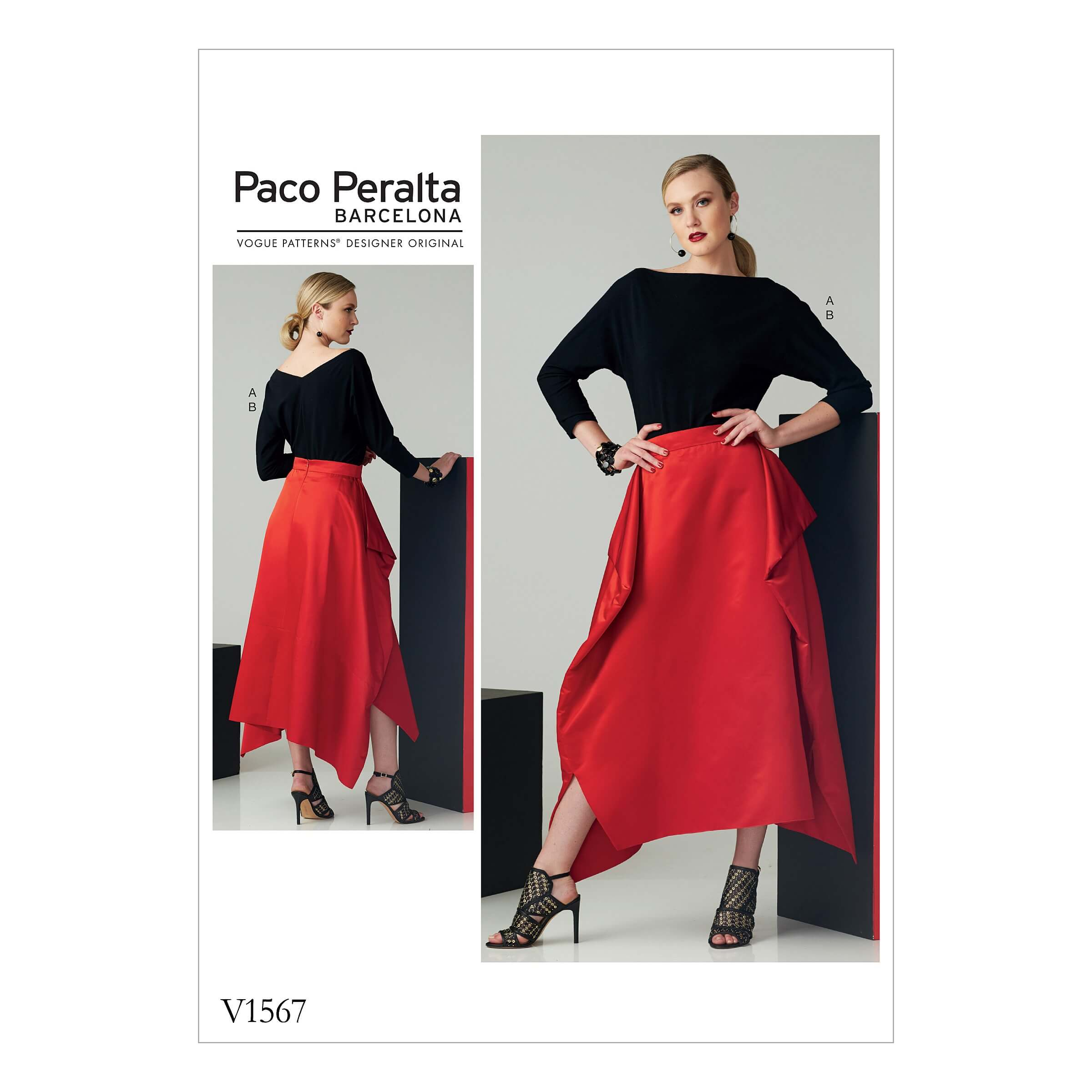 Vogue Sewing Pattern V1567 Women's Batwing Top and Drape Side Skirt