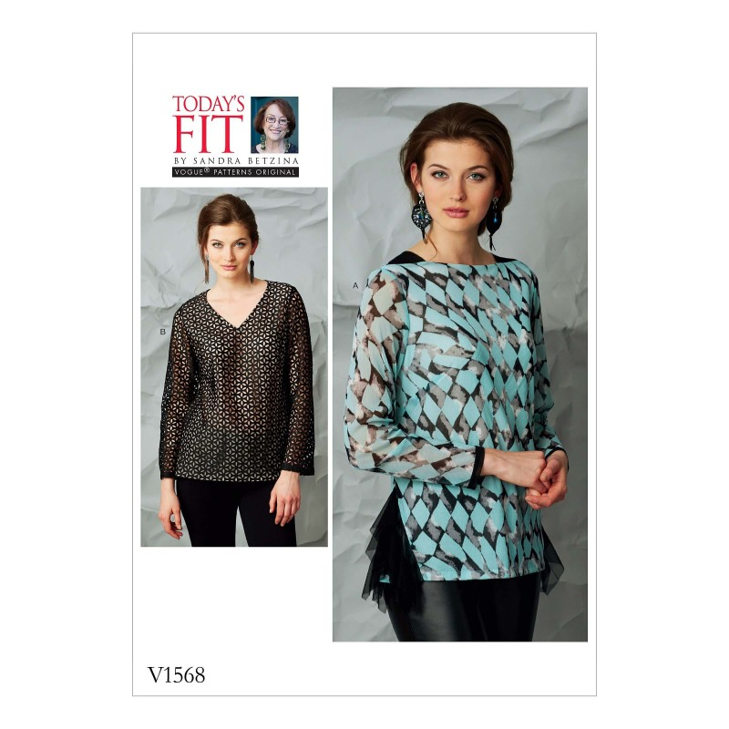 Vogue Sewing Pattern V1568 Women's Top with Hemline and Neck Variations