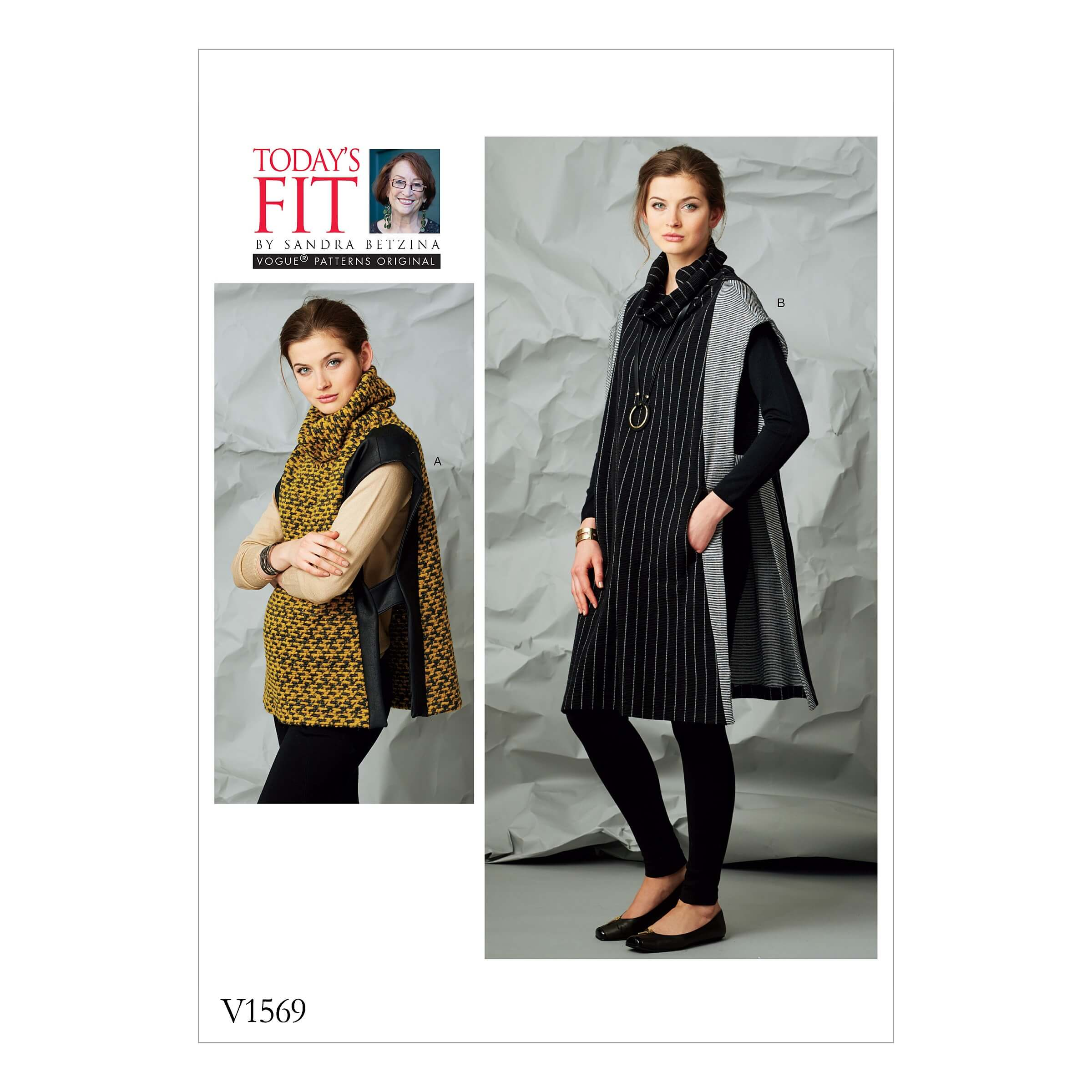 Vogue Sewing Pattern V1569 Women's Pullover Tabard with Contrast Panels