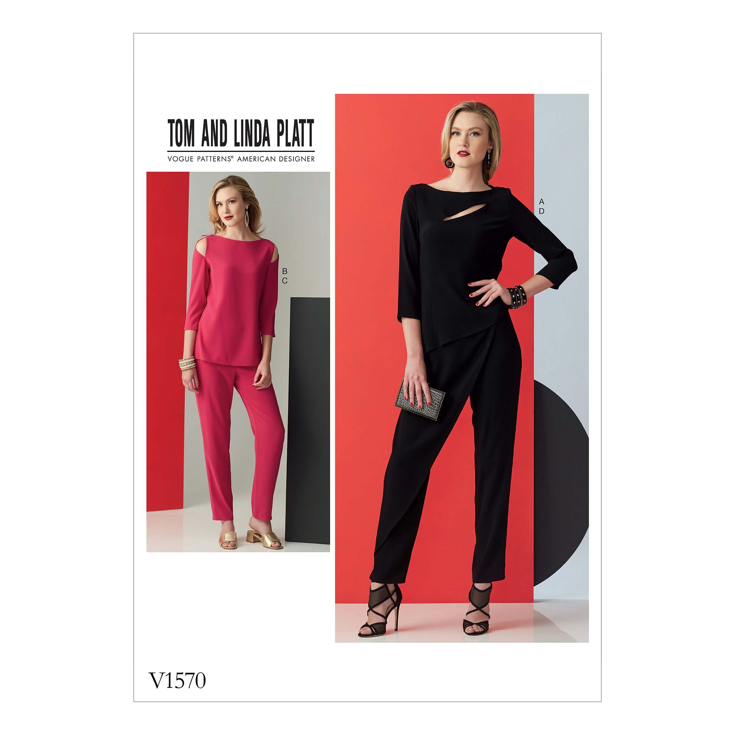 Vogue Sewing Pattern V1570 Women's Slim Trousers and Top with Open Details