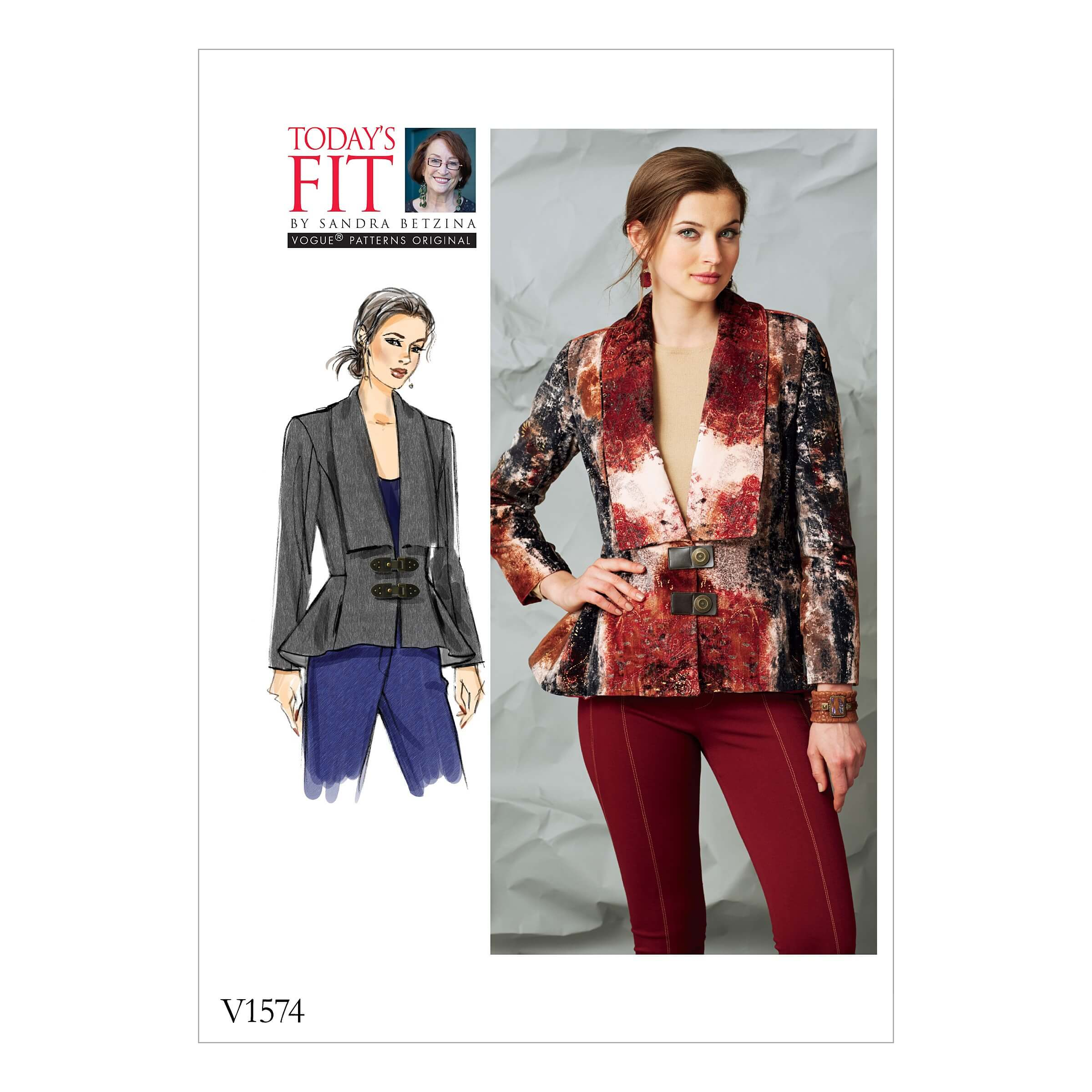 Vogue Sewing Pattern V1574 Women's Peplum Jacket with Shawl Collar