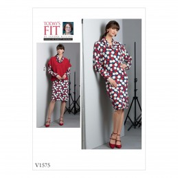 Vogue Sewing Pattern V1574 Women's Dolman Sleeve Dress and Top Overlay