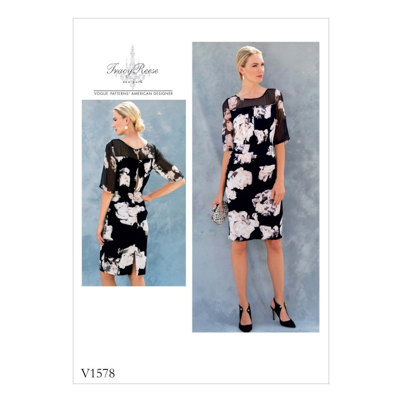 Vogue Sewing Pattern V1578 Women's Slim Dress with Contrast Panels