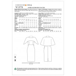 Vogue Sewing Pattern V1579 Women's Dress with Attached Cape and Belt