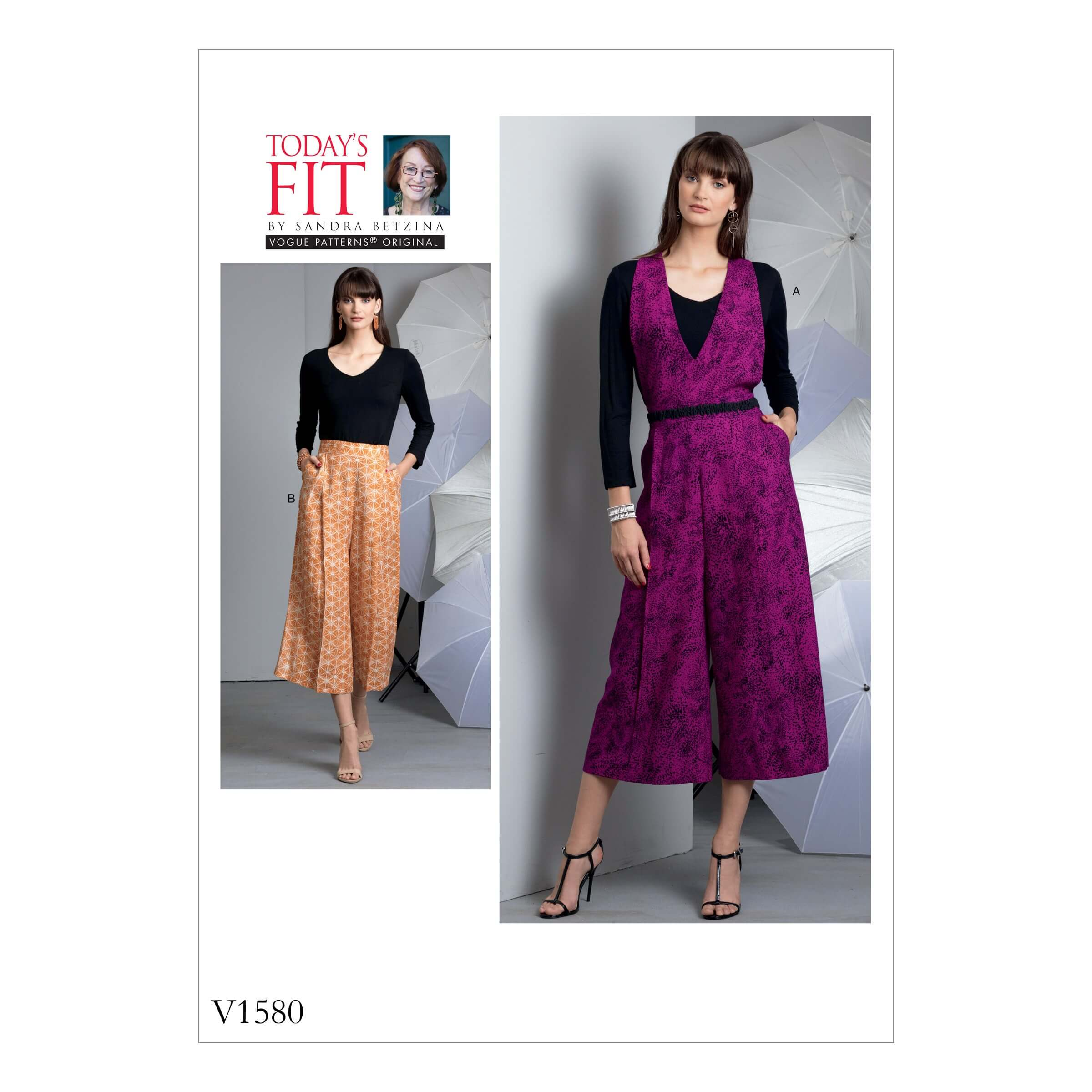 Vogue Sewing Pattern V1580 Women's Wide Leg Trousers with Optional Straps