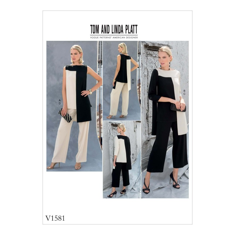Vogue Sewing Pattern V1581 Women/'s Multi Length Tunic and Straight Trousers