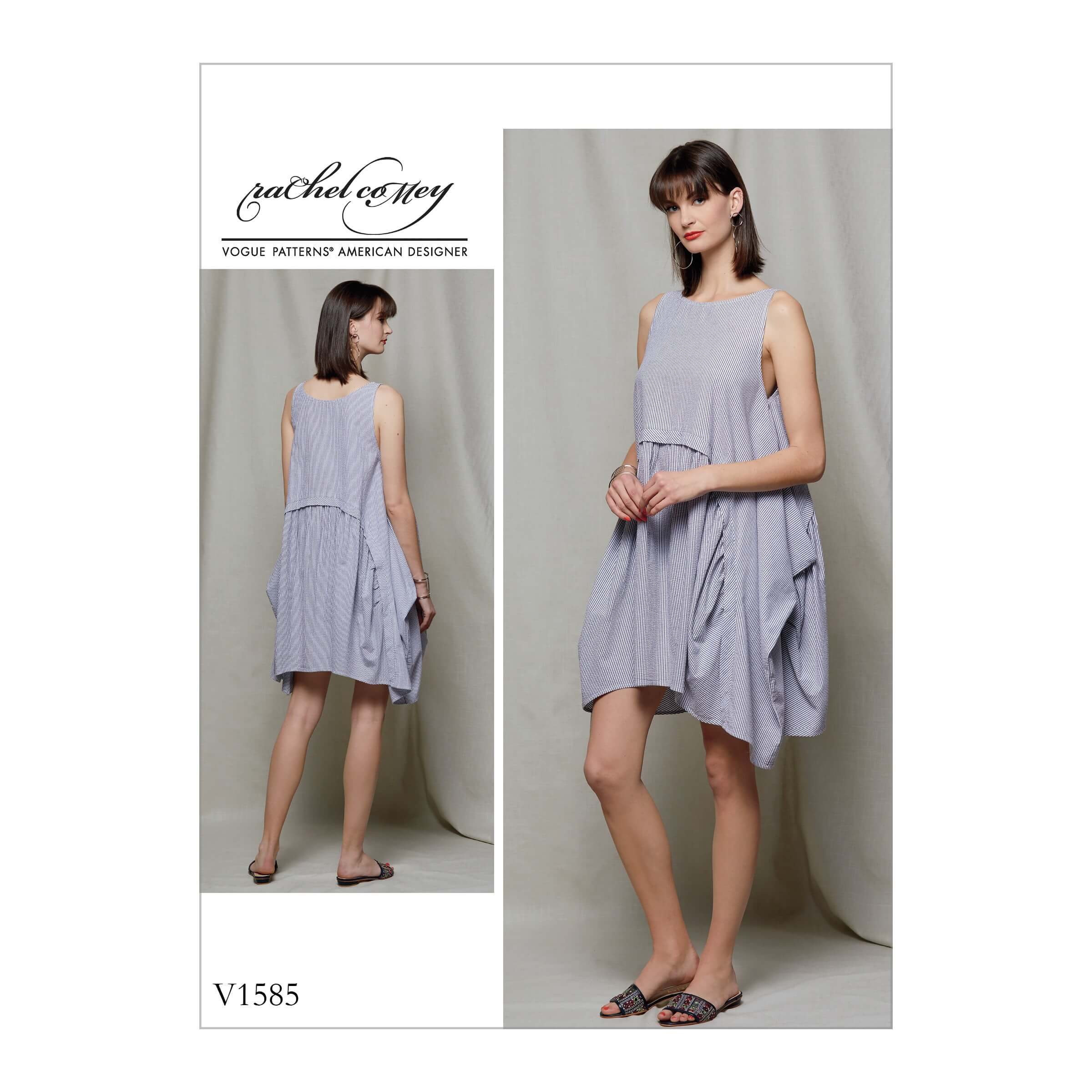 Vogue Sewing Pattern V1585 Women's Dress with Drape and Gather Details