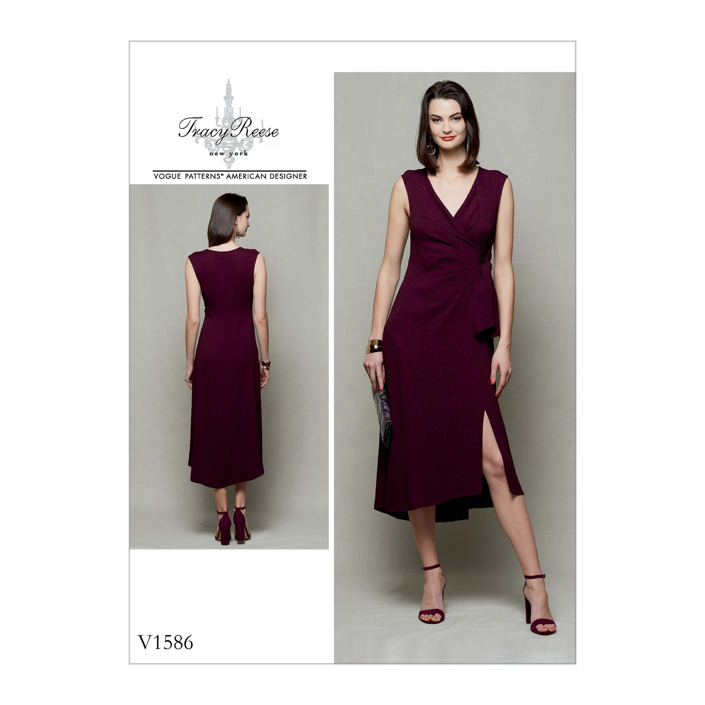 Vogue Sewing Pattern V1586 Women's Mock Wrap Dress with Wing Collar