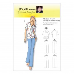 Butterick Sewing Pattern 5301 Misses' V-Neck Top & Trousers