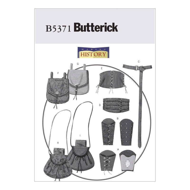 Butterick Sewing Pattern 5371 Misses' Men's Wrist Bracers Corset Belt & Pouches