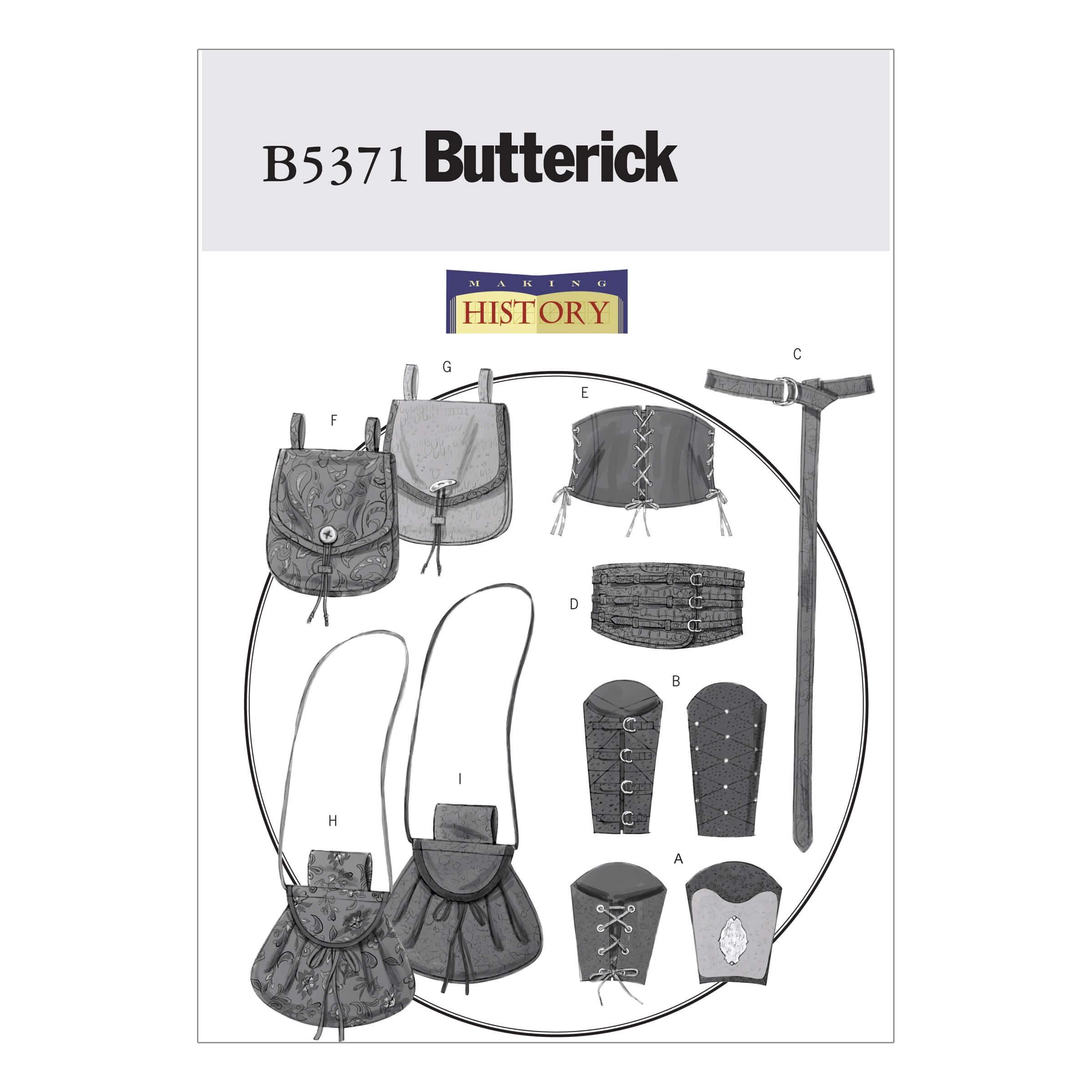 Butterick Sewing Pattern 5371 Misses' Men's Wrist Bracers Corset Belt & Pouches