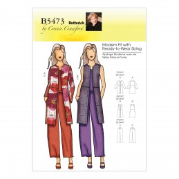 Butterick Sewing Pattern 5473 Misses' Jacket Vest Coat & Trousers