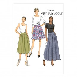 Vogue Sewing Pattern V9090 Women's Pleated Skirt With Side Pockets
