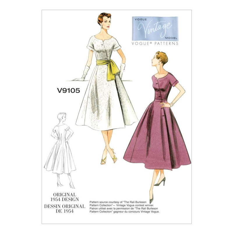 Vogue Sewing Pattern V9105 Women's Loose-Fitting Dress And Sash