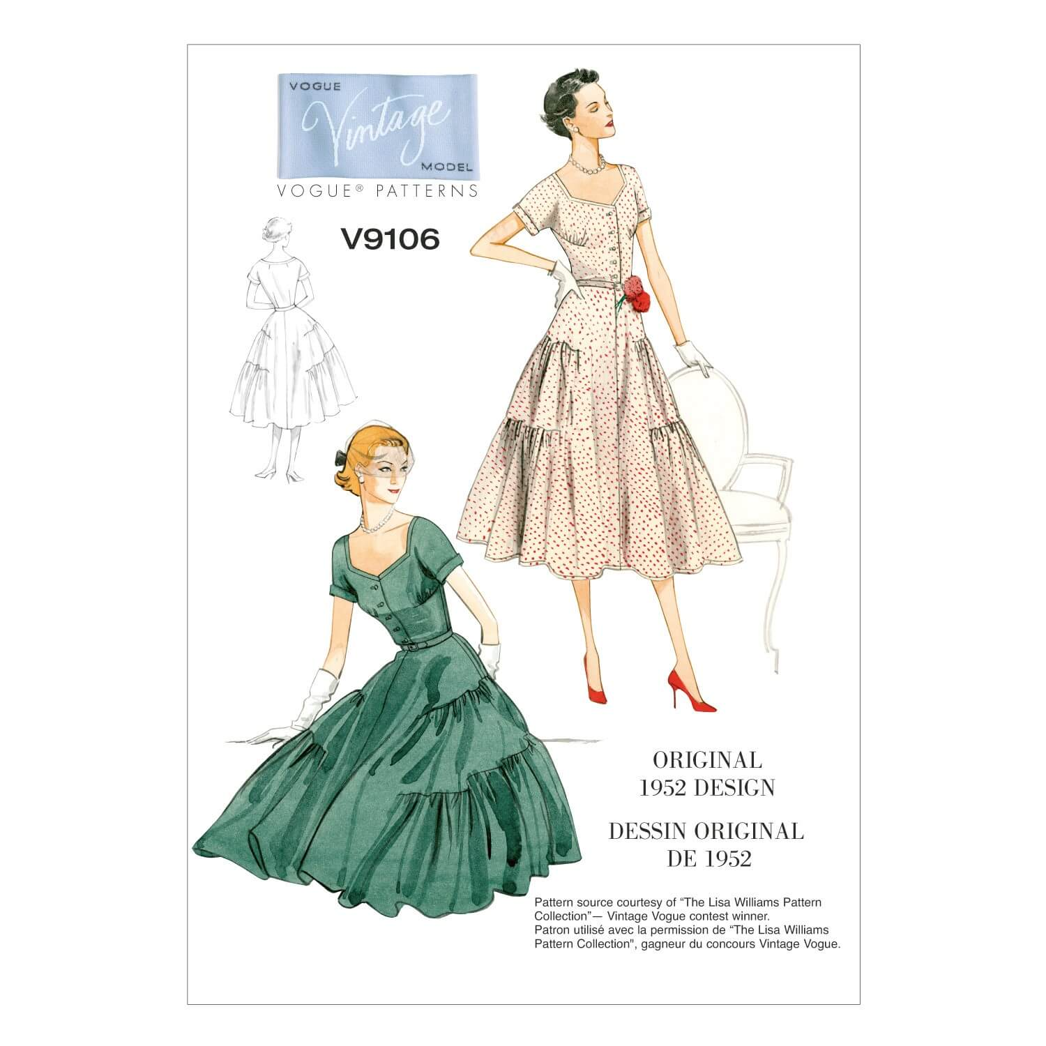 Vogue Sewing Pattern V9106 Women's Dress And Belt Fitted Bodice