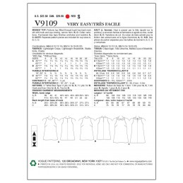 Vogue Sewing Pattern V9109 Women's Pull Over Vest Top Collar