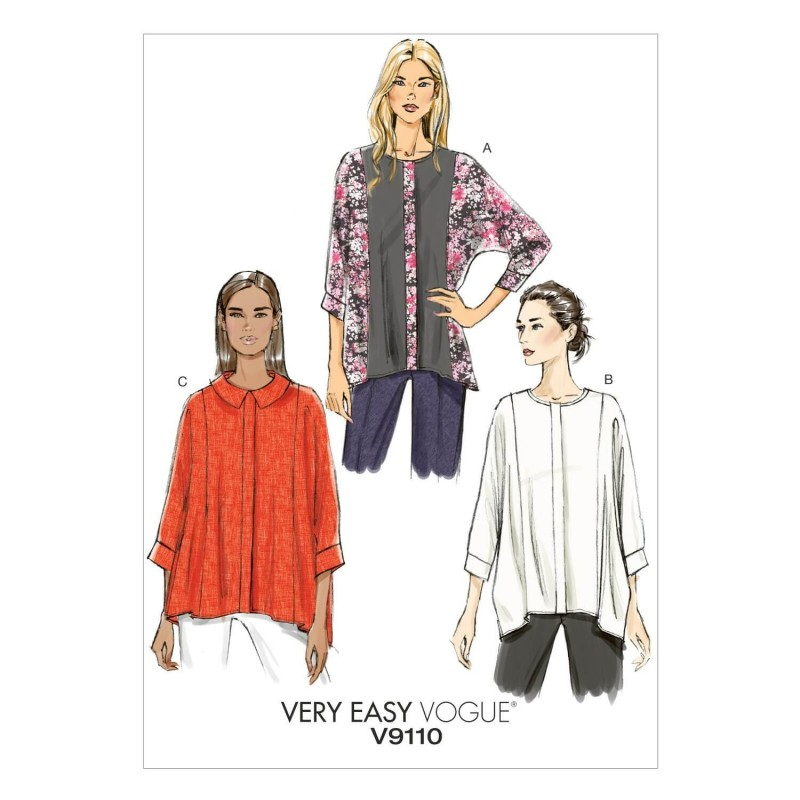 Vogue Sewing Pattern V9110 Women's Very Loose Fitted Top Barrel Cuffs