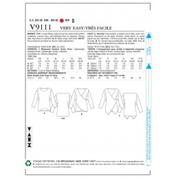 Vogue Sewing Pattern V9111 Women's Loose Fitted Pull Over Top