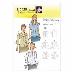 Butterick Sewing Pattern 5538 Misses' Blouse Top Long & Short Sleeve