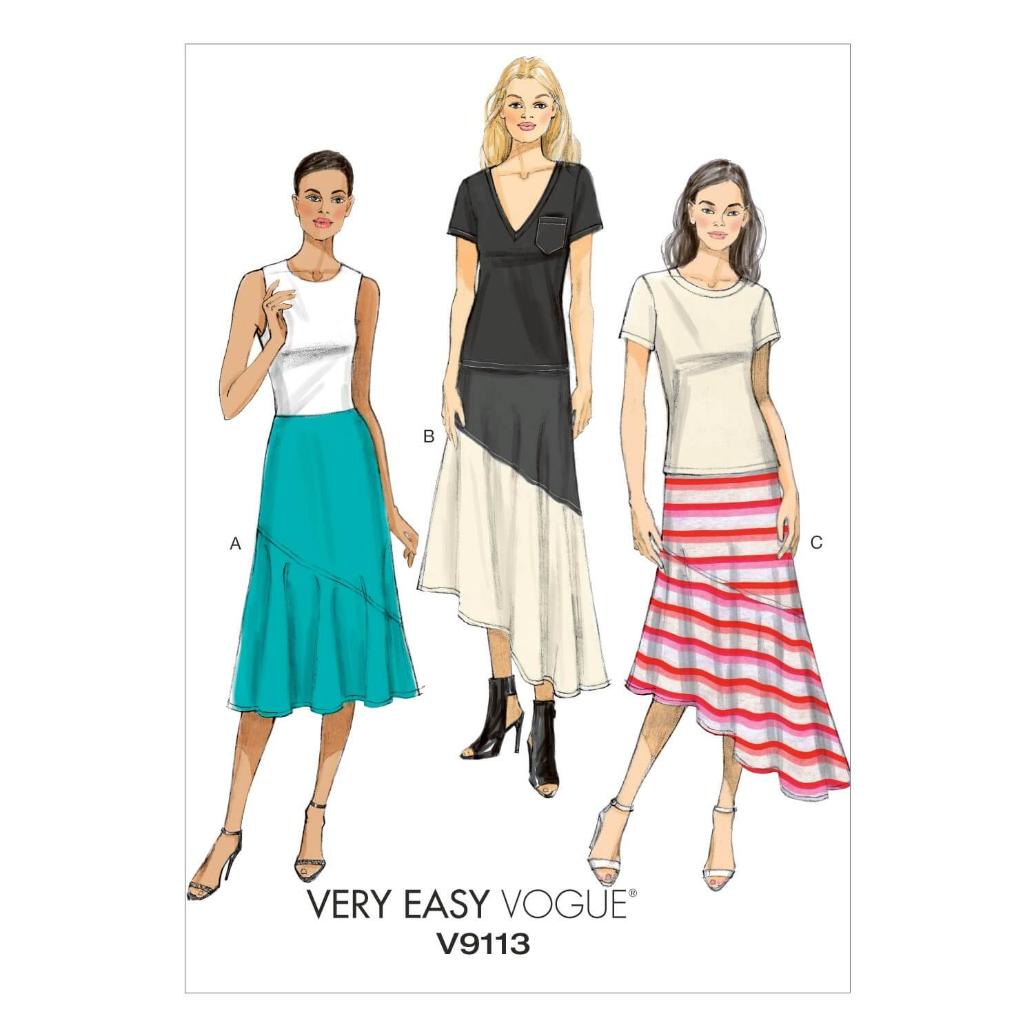 Vogue Sewing Pattern V9113 Women's Close Fitting Long Skirt